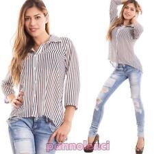 Camisa de mujer suéter rayas velado manga larga collar cola de nueva CC-1333