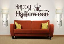 Happy Halloween cita, Vinilo Arte de Pared Adhesivo Calcomanía Mural Decoración para el hogar,,, Spider