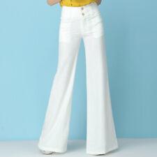 Womens Wide Leg Casual Formal Bell Bottoms Pants Cotton Linen Trousers New Muk15
