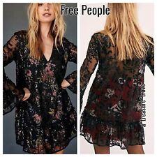 New Free People FALLING FLOWERS FROCK Black Red Pink Swing Dress / Top XS SM M