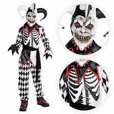 Kids Boys Sinister Jester Circus Killer Clown Harlequin Halloween Costume Mask