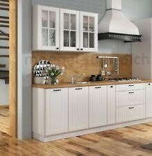 Landhaus Küchenzeile Einbauküche LORA 240 Cm 7 Teilig Im Weiß, Beige Oder  Grau