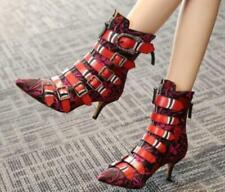 Women Pointer Toe Punk Kitten Heel Buckle Leather Ankle Boots Shoes Zipper wi