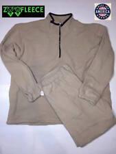 ZooFleece Beige Solid Set Jacket Sweater Pants Plain Warm Half Zipper L-XL