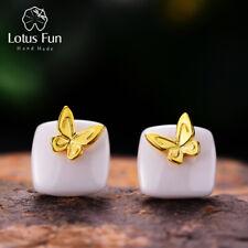 18K Gold Schmetterling Keramik Ohrstecker für Frauen Echt 925 Silber Schmuck