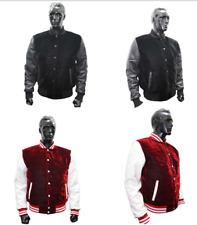 Velvet Black Red Varsity College Letterman Bomber Jackets Real Leather Sleeves