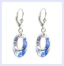 "Swarovski Elements Clear AB Crystals STR Silver Leverback 1.5"" Dangle Earrings"
