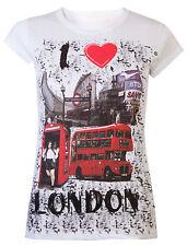 Womens T-Shirts London Souvenir Tops Ladies I Love London Summer Tee White New