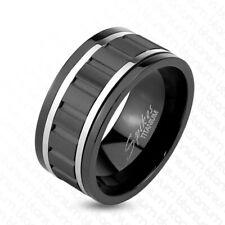 Black Titanium Spinning Gear Design Center Stripe Band Ring Size 9-13