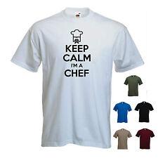'Keep Calm I'm a Chef' (logo) Funny Cook Foodie hat cordon bleu Sous Tshirt