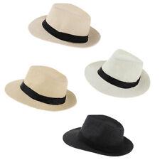 Unisex Summer Straw Panama Hat Fedora Trilby Cap Sunhat Wide Brim Sombrero