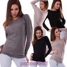 Pullover donna maglioncino maglione maglia maniche lunghe nuovo FZ-9686