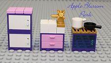 NEW Lego Minifig Size PURPLE KITCHEN Friends Pink & Gold w/Sink-Stove-Fridge Pan