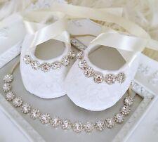 Baby Girl Ivory Christening Baptism Shoes Headband Set Rhinestone Wedding