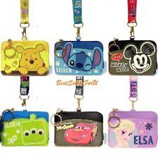 Disney PU Leather ID Credit Card Holder Coin Purse Wallet Lanyard w/ Keychain