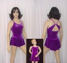 Drape Back Purple Velvet Ice Figure Skating Tap Dress Dance Costume CM,CL,AM