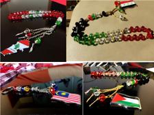 Souvenir National Country Metal Flag Map Islamic Rosary 33 Beads Islam Masbaha