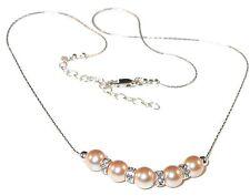 PEACH Pearl Necklace Bridal Bridesmaid Sterling Silver Swarovski Elements