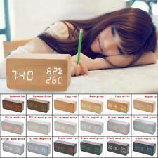 Wood Digital LED Desk Alarm Clock Timer Calendar Temperature Voice Control Hot