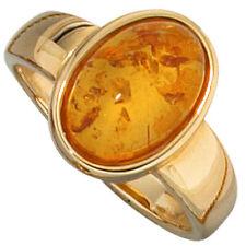 Anello,Anello donna con Ambra & Oro 585,Oro giallo,lussuoso,