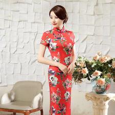 New Luxurious Srping Flowers Red Chinese Long Dress Cheongsam Qipao lcdress25