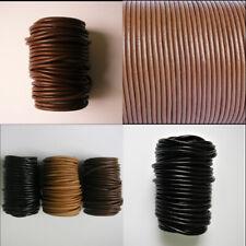 Lederband  Lederriemen rund echtes Rindsleder 1,5-4mm Schwarz Braun Beige 5m 10m