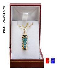 Pendentif amulette porte bonheur TIKI Sagesse Plaqué Or Bleu  avec chaine boite