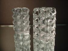 Blenko Art Glass Pr Diamond Pillar Candlesticks Sheperd