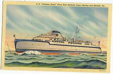 Vintage Postcard SS Princess Anne Ferry Boat Curteich Linen 1936