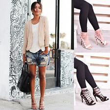Nouveau Femme Women's Lace Up Clubbing Haut Talon Aiguille Sandale Mode Chaussures Taille