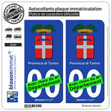 2 Stickers autocollant plaque immatriculation Auto : Turin Province - Armoiries