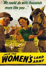 Wb9 Vintage Ww2 Para Mujer tierra ejército británico Segunda Guerra Mundial Guerra Poster volver a imprimir A3