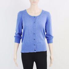 John Lewis Womens Size 12 Lightweight Knit Button Up Blue Cardigan
