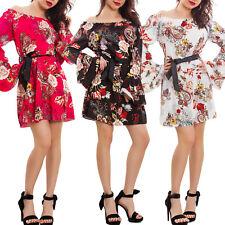 Vestito donna fiori floreale miniabito elegante cintura gitana nuovo AS-1800
