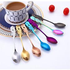 Stainless Steel Flower Spoons Rainbow Coffee Tea Spoon Flatware Drinking Tool ne