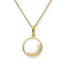 REAL 375 9ct GOLD & Cancella CZ cristallo tagliato Cerchio Collana Catena Ciondolo su