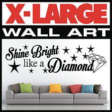 WALL ART QUOTE Shine Bright like a Diamond VINYL STICKER DECAL GRAPHIC HOME 002