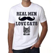 Real Men Love Cats 1 Men's Tshirt, Roundneckline, White tee