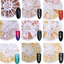 Rose Gold Rhinestones Rivet Studs 3D Nail Art Decoration Wheels Nails Decor Tips