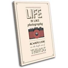 Motivational Retro Photography Vintage SINGLE CANVAS WALL ART Picture Print