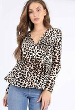 Womens Ladies Leopard Print V Neck Peplum Top