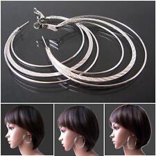 Damen Ohrringe Silber Creolen 3-lagig Ohrcreolen 4,5 bis 7,5cm Modeschmuck VO14
