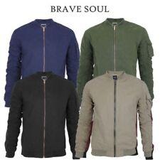 Mens Brave Soul Cotton MA1 Bomber Flight Jacket Parachute Sleeves Summer Coat