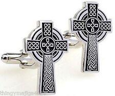 CROSS CUFFLINKS IRISH CHRISTIAN CATHOLIC CELTIC RELIGION ROMAN PAGAN RELIGIOUS