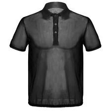 Mens Summer Short Sleeves Turn-down Collar Thin Mesh See-Through T-Shirt Tops