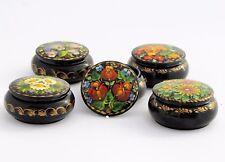 Boîte à bijoux pilules H 3 D 6,5 bois peint main laqué signé artisanat ukrainien