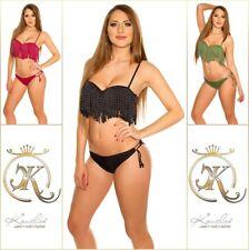 Bikini Push Up Beachwear Bademode Badeanzug mit Fransen