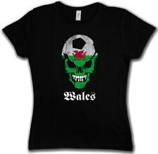 BLACK WALES FOOTBALL SOCCER SKULL FLAG DAMEN T-SHIRT Fan Hooligan Schädel
