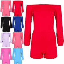 Womens Ladies Off Shoulder Bardot Partywear Long Sleeve Casual Jumpsuit Playsuit
