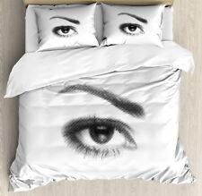 Eyelash Duvet Cover Set with Pillow Shams 3D Style Retro Dotted Print